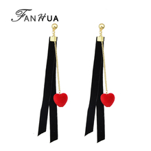FANHUA Punk Rock Style Black Velvet Dangle Earrings Long Gold-Color Chain with Red Heart Charm Dangle Earrings for Women Brincos