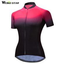 2017 Weimostar Black Red MTB Bike Jersey Women's Cycling Clothing Ropa Ciclismo Jersey Riding bicycle Top Maillot Shirt Summer