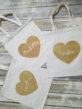 personalize names set of 4 wedding bridesmaid Gold glitter tote bags Champagne Party gift Bags Bachelorette bridal shower favors