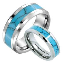 Queenwish 8/6mm  Fashion Tungsten Ring With Turquoise Inlay Matching Tungsten Wedding Bands Anniversary Couple Jewelry