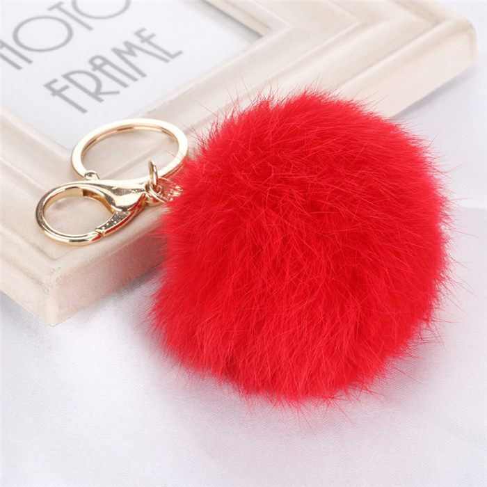 8CM Fluffy Pompom Real Rabbit Fur Ball Key Chain Women Trinket Pompon Hare Fur Toy keyring Bag Charms Ring Keychain Wedding Gift (1)
