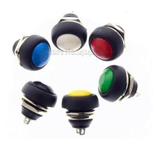 New 2Pin Mini Switch 12mm 12V 1A Waterproof momentary Push button Switch since the reset Non-locking