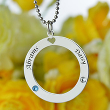 Wholesale  Circle Name Necklace Personalized Couples Necklace with Birthstones Silver Nameplate Pendant Express Love Heart Gift