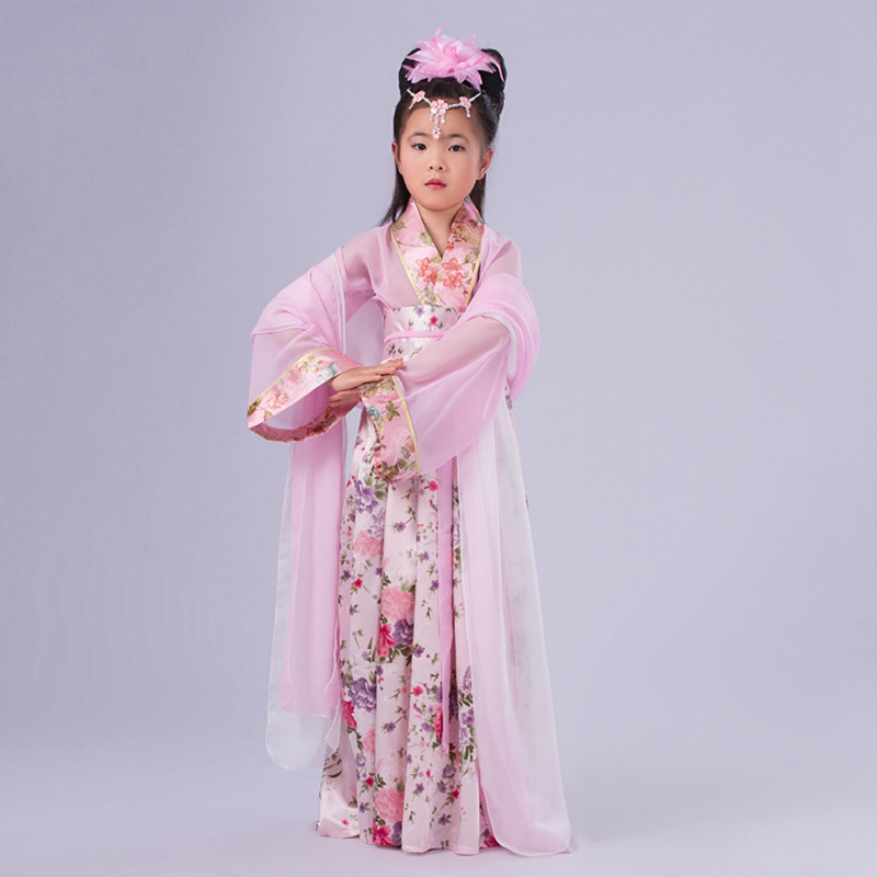 High Grade Girls Fresh Printing Big Peplum Classical Dress Gorgeous Floral Princess Long Dress Childrens Dance Costumes HanFu<br><br>Aliexpress