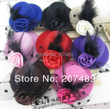8cm hair clips Lady girls Kids Felt Mini Top Hat Fascinator colorful rose plume Hair Accessories decor  whcn+