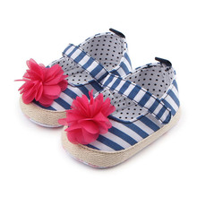 Classic Striped Flower Kids Girls Shoes Baby Princess First Walkers Infant Soft Soled Shoes High Top Baby Prewalkers Zapatos(China)