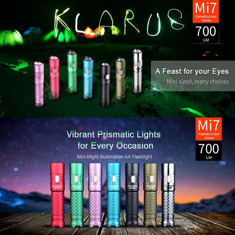 Klarus Mi7 IPX8 Mini LED EDC Flashlight Torch Power By AA / 4500 Battery CREE XP-L HI V3 Lamp 700 Lumens Lantern Smart Indicator<br>