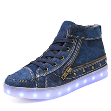 Promotion USB Rechargeable Kid LED Shoes Girls And Boys Casual Canvas Children Luminous Shoes Zip High Top Jean Sneakers Women(China)