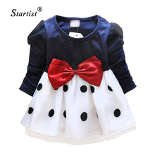 Newest Autumn Grils Baby Dresses Spring Long Sleeve Bow Baby Princess Dress  Clothing Infant Baby Birthday Tutu Dress Promotion