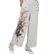 Gray Chinese Women High Waist Trousers Embroidery Flower Wide Leg Pants Leisure Cotton Linen Full Length Pant Size L-XXL(China)