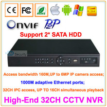 Lihmsek ONVIF 32 Channels CCTV NVR Recorder Full HD 1080P Support up to 6MP IP Camera Access, 2 SATA HDD PORT Surveillance NVR