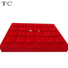 Superior Quality Portable Red Velvet Ring Jewelry Display Trays Holder Showcase For Gold Jewellery Window Setting Kisok
