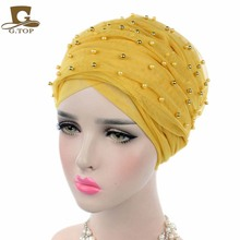 2017 new fashion Luxury women gold beaded mesh Turban Headband extra Long mesh Turban Head Wraps Hijab Head Scarf Turbante(China)