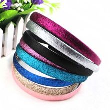 2 pcs/pack Fashion Lady Girls Glitter Headbands Sparkling Hoop Hair Leather Plastic Hair Band Hair Band Accessories(China)