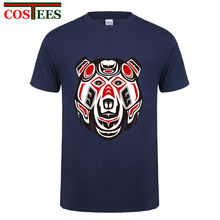 Funny Haida bear head t shirt men Russia bear tattoo style t-shirt male Polar bear design tee feyenoord shirt real tshirt madrid(China)