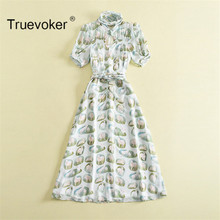 Truevoker Summer Designer Dress Women's Short Sleeve Casual Animal Printed Cutout Mid Calf Dress(China)