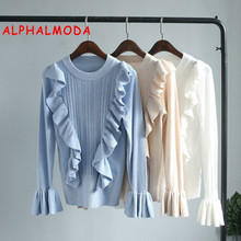 ALPHALMODA  Ruffled Trim Flare Sleeve Ladies Soft Quality Sweater Solid Color Pullovers Women's Stylish Bottom Knitted Shirts