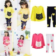 2017 new year Girls clothes hello kitty kitti clothing sets cat cute toddler girl clothes kids clothes cheap infant clothing(China)