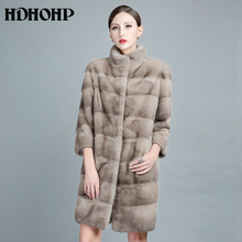 HDHOHP 2017 New Natural Mink Fur Coats For Women Outwear Park With Fur For Female Warm Vest Winter Real Mink Fur Jackets(China)