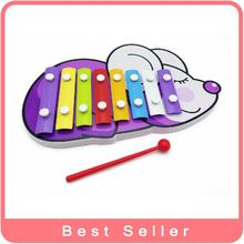 Free New Arrival Shipping 2015  Preschool Music Toy Piano  Multi-color Musical Boxes glockenspiels mouse Shape Wa-1202