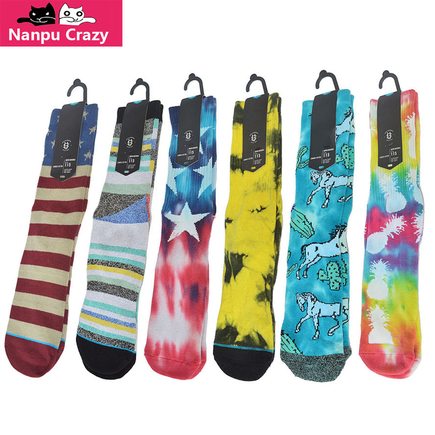 American Flag Strip Basketball Socks Men Hip Hop Tie Dye Compression Cycling Socks Skateboard Hiking Skiing Sport Sock