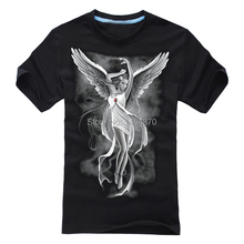 Cool 3D illustration Dark Gothic Black Angel Rock Brand Ropa Mujer shirts shirt fitness 100%Cotton anime hip hop(China)