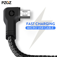 Pzoz micro usb cable usb fast charger nylon cord microusb 90 Degree charging Data Sync Cabel Samsung xiaomi Tablet android