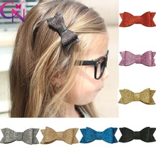 "33 Pcs/lot 3"" Solid Glitter Hair Bow With Clip For Girls Kids Handmade Boutique Bling Bows Hairpins Hairgrips Hair Accessories(China)"