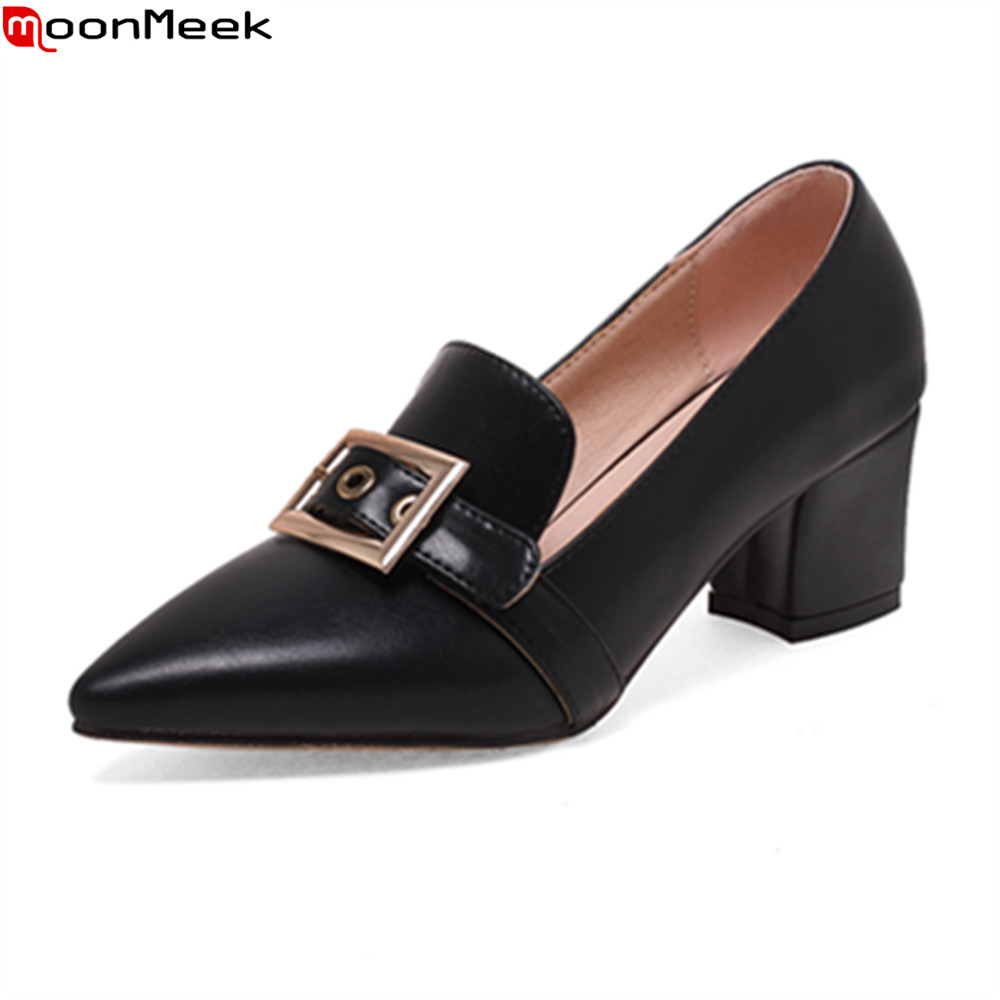 MoonMeek 2018 spring summer high heel women pumps slip on with metal decoration shallow pointed toe square heels ladies shoes<br>