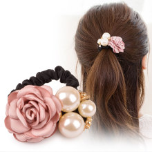 M MISM Girls Pearl Beads Elastic Hair Band High Quality Flower Gum for Hair Accessories for Women Rubber Bands Luxury Scrunchy(China)