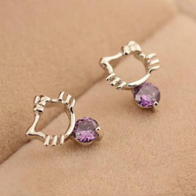 Hot sale Hello Kitty Jewelry Wholesale 925 Sterling Silver Cat Earrings Crystal Stud Earrings Fashion Jewelry Brincos For Women