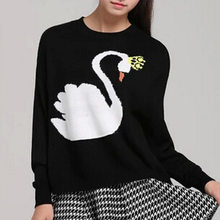 new winter sweater female swan pattern printing O-neck long-sleeved sweater sweater hedging