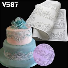 Fondant Silicone Lace Mat Flower Pattern Shaped Silicone Mold for Cake Decorating Pastry Tools Silikon Baking Mat Color Random