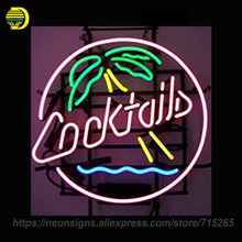 5CPALM Cocktails and Palm Tree Real Glass Tube Neon Signs Handcrafted Advertising Neon Lamp Art Light Indoor Motel Sign 24x24(China)