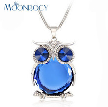 MOONROCY Rose Gold Color Free Shipping Fashion long Crystal Necklace Sweater Chain Jewelry for women Owl Blue brown gift(China)
