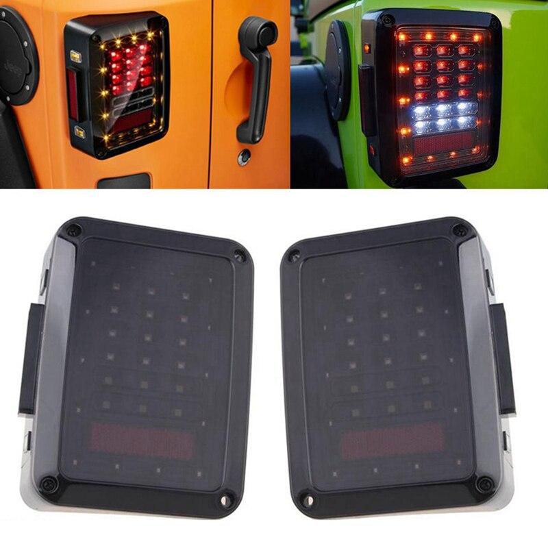 Black Smoked Lens LED Reverse Brake Tail Lights For Jeep Wrangler JK 2007-2016<br>