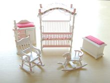 Pink Kids Dolls House Bedroom Furniture Wooden Toys Bed Rocking Chair Horse Baby 1 12 scale Dollhouse Miniatures 6PC set(China)