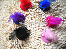 wholesale 72pcs/lot party show cute top hat clip for dog pet child kids mix colors pet feather hat hair clips 5.5cm