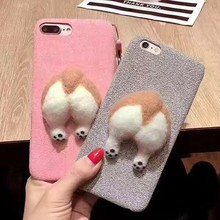 Super Cute Latest Mobile Phone Cases 3D Welsh Corgi Dog Chubby Ass Butt Protective Cellphone Back Cover Case for iPhone 7/8 Plus
