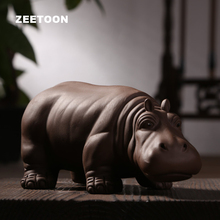 Authentic Yixing Purple Clay Hippo Tea Pet Boutique Chinese Kung Fu Tea Set Ornament Ceramic Crafts Lucky Fengshui Home Decor(China)