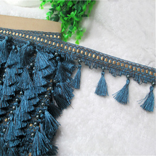 12Yard/Lot Curtain Lace Trim Tassel Fringe DIY Beads Ball Sofa Tablecloth Lace Accessories Hanging Binding Sewing(China)