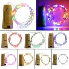 1Pc 2M 20 Led LED Strip Light Cork Shaped Copper Wire String Lamp Glass Wine Bottle Stopper Light Fairy Christmas Party Decor(China)