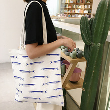 YILE Cotton Canvas Eco Shopping Tote Shoulder Bag Print Fish White Bottom YF7303