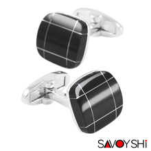 Classic Black Onyx Square Cufflinks for mens French shirt Silver Cuff links Business gift SAVOYSHI Brand Jewelry