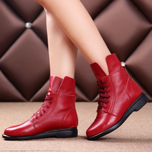 Free Shipping Women Fashion Genuine Leather Ankle Boots Women Autumn Warm Martin Boots Size 35-40