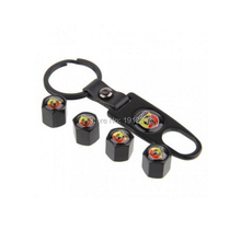 Black Leather Buckle Valve Cap Wheel Tyre Tire Valve Dust Stems Air Caps Cover  Wrench Key Chain For Abarth 500C Punto Evo