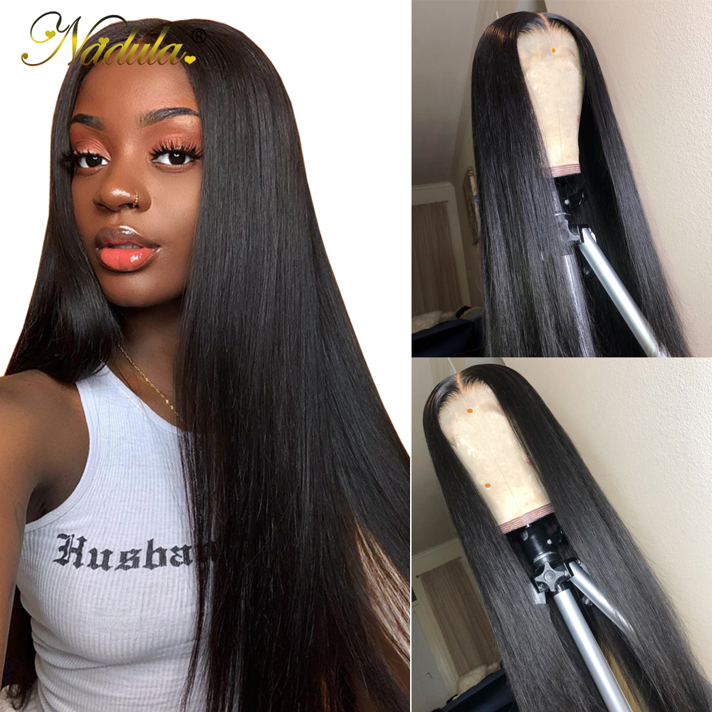 Nadula Hair Lace Front Human Hair Wigs Pre Plucked Brazilian Remy Hair Straight Lace Front Wigs 14-28inch Natural Color No.20(China)