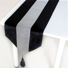 "Diamante Studded Modern 13"" X 72"" Deep Black Berry Silver Table Runner with Tassel Chenille Velvet Look P2996"