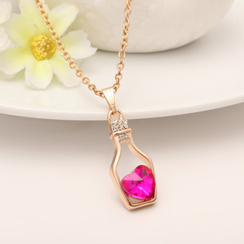 Female Trendy Cute Love Heart Peach Crystal Wishing Bottle Classic Pendant Necklaces All Compatible Hot Sale #SN0002(China)