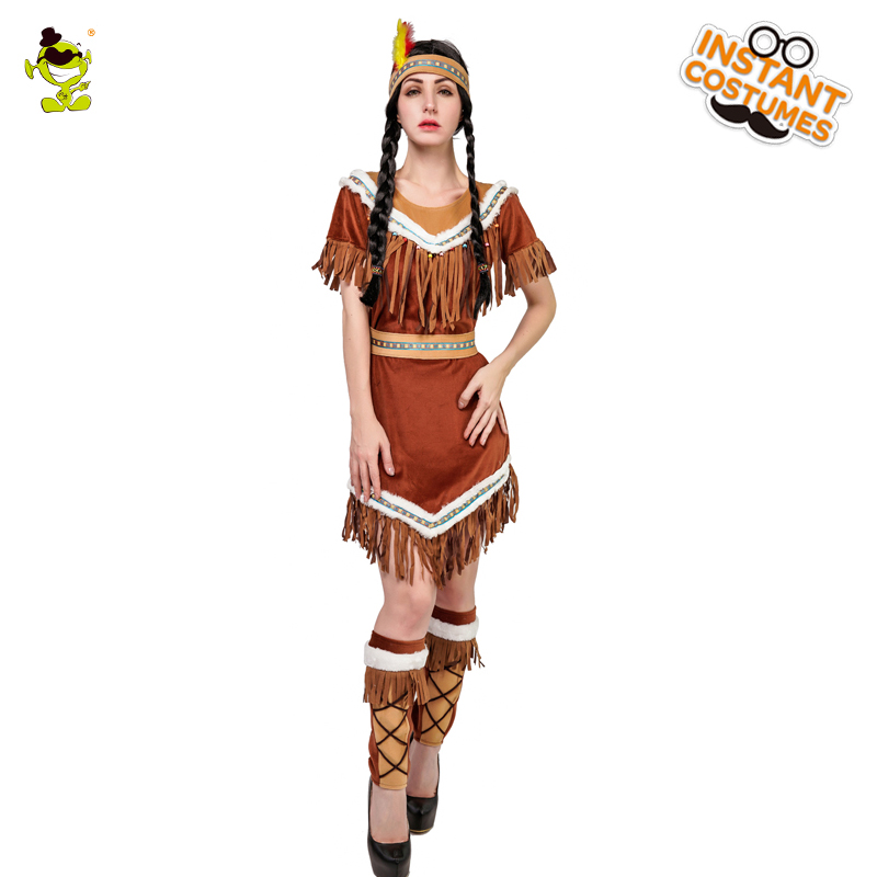 Women//Girl Purim Costume Native American Indian Fringe Fancy Dress Carnival